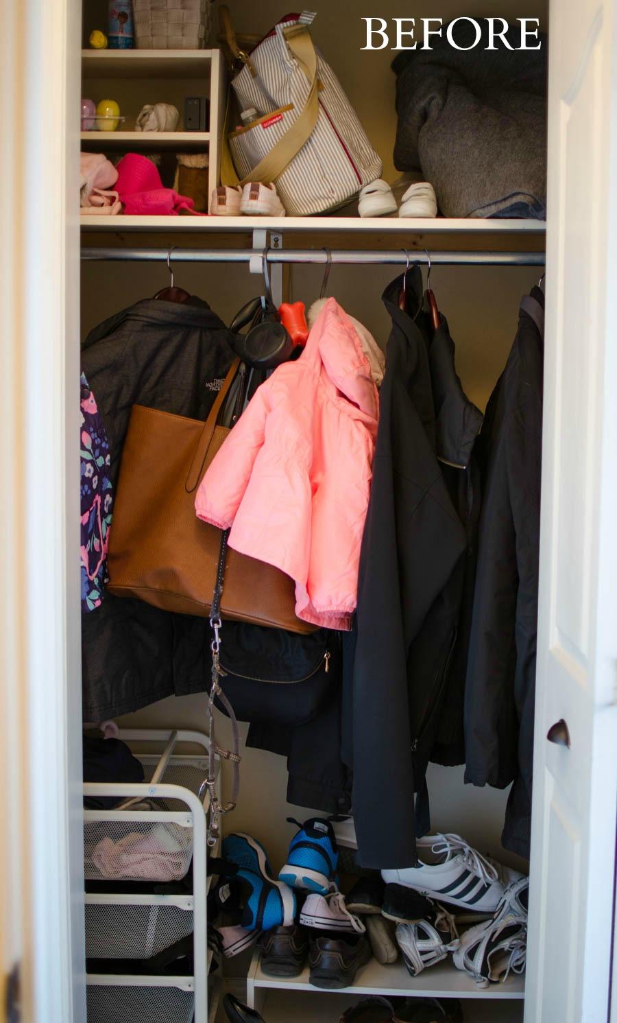 Turn A Coat Closet Into Mini Mudroom